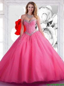 Fall 2015 Elegant Sweetheart Ball Gown Hot Pink Quinceanera Dresses with Beading