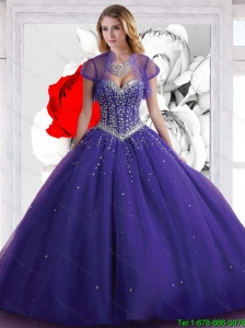 Fall 2015 Perfect Sweetheart Ball Gown Purple Quinceanera Dresses with Beading