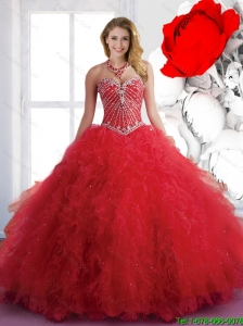 New Style 2015 Winter Quinceanera Dresses with Beading and Ruffles in Red