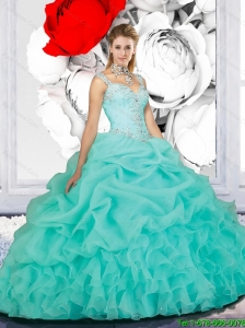 New Style Aqua Blue Sweet 15 Dresses with Beading for 2015
