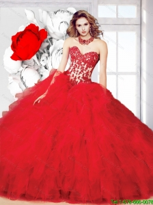 Perfect Red 2015 Summer Ball Gown Sweet 16 Dress with Beading and Ruffles
