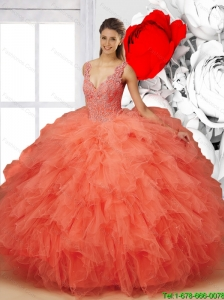 Pretty 2015 Summer V Neck Beaded Quinceanera Dresses in Orange Red