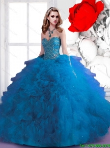 Summer 2015 Top Seller Beaded and Ruffles Sweetheart Sweet 16 Dresses in Blue