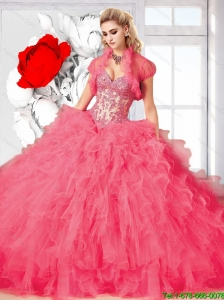 Top Seller Rose Pink 2015 Summer Ball Gown Quinceanera   Dress with Beading and Ruffles