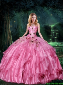 2015 New Style Sweetheart Ball Gown Beaded Sweet 16 Dresses in Rose Pink