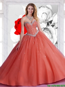 2015 Perfect Sweetheart Ball Gown Quinceanera Dresses with Beadin