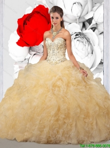 2015 Summer Elegant Light Yellow Sweet 16 Dresses with Beading and Ruffles