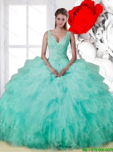 Beautiful 2015 Summer V Neck Beaded Quinceanera Dresses with Ruffles
