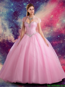 Pretty Sweetheart Beaded Sweet 15 Dress in Rose Pink for 2015 Summer