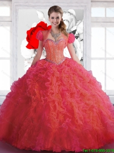 Top Seller Sweetheart Beaded and Ruffles Quinceanera Dresses in Coral Red for 2016