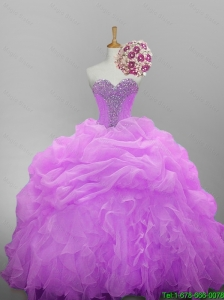 2016 Pretty Sweetheart Quinceanera Dresses with Beading and Ruffled Layers