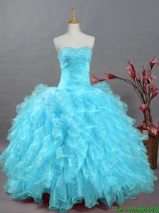 2016 Summer Beautiful Beading Aqua Blue Quinceanera Dresses in Organza