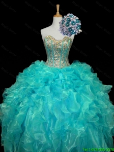 New Arrival 2016 Sweetheart Mint Quinceanera Dresses with Sequins and Ruffles