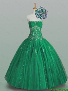 Perfect 2016 Ball Gown Beaded Green Sweet 16 Dresses with Appliques