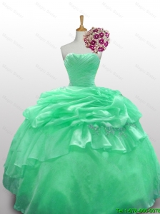 2015 Beautiful Strapless Quinceanera Dresses with Appliques