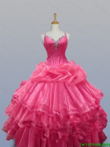 2015 Elegant Straps Quinceanera Dresses with Beading in Organza