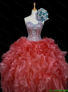 2015 New Style Ball Gown Sweet 16 Dresses with Sequins and Ruffles in Rust Red