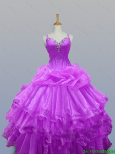 2015 Popular Straps Beaded Quinceanera Dresses with Ruffled Layers