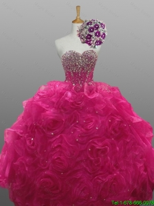 Beautiful Beading and Rolling Flowers Sweetheart Quinceanera Dresses for 2015 Fall