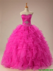 Pretty 2016 Summer Sweetheart Ball Gown Sweet 16 Dresses in Hot Pink