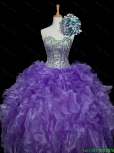 Pretty Sweetheart Purple Quinceanera Dresses with Sequins and Ruffles for 2016