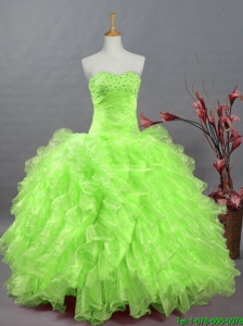 Pretty Sweetheart Quinceanera Dresses in Spring Green for 2015