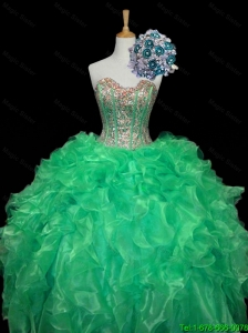 Top Seller 2015 Turquoise Ball Gown Quinceanera Dresses with Sequins and Ruffles