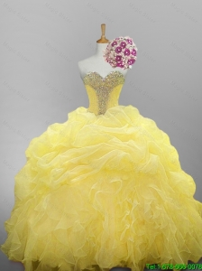 2015 Pretty Sweetheart Beaded Quinceanera Dresses with Ruffled Layers