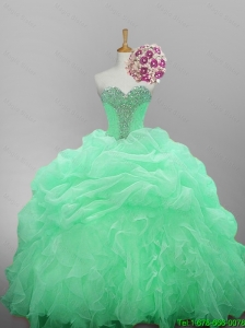 2016 Fall Elegant Sweetheart Quinceanera Dresses with Beading and Ruffled Layers