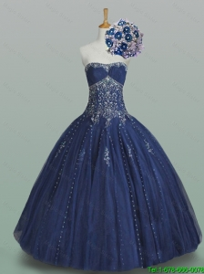 Elegant 2015 Ball Gown Strapless Beaded Quinceanera Dresses in Navy Blue