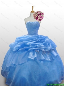 New Arrival 2016 Summer Strapless Quinceanera Dresses with Paillette and Ruffled Layers