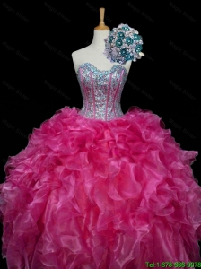 Perfect 2015 Sweetheart Hot Pink Quinceanera Dresses with Sequins and Ruffles