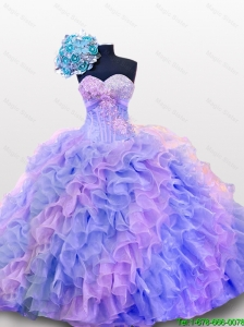 Pretty Beaded and Sequins Sweetheart Quinceanera Dresses for 2015