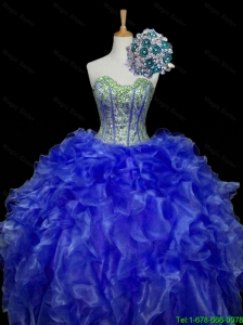 Pretty Sweetheart Blue Sweet 16 Dresses with Sequins and Ruffles for 2015