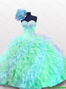 2015 Popular Sweetheart Appliques Quinceanera Dresses with Sequins and Ruffles