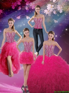 2016 Pretty Sweetheart Beaded and Ruffles Detachable Quinceanera Skirts in Hot Pink