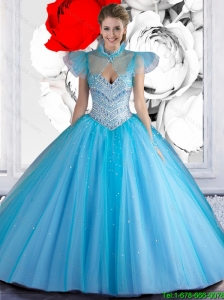 2015 New Arrival Sweetheart Beaded Quinceanera Dresses in Baby Blue