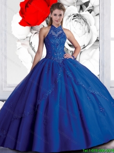 2015 New Style Halter Top Beaded Navy Blue Quinceanera Dresses