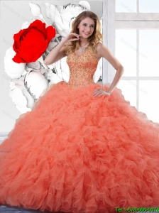 2016 Exclusive Orange Red Quinceanera Gowns with Appliques and Ruffles