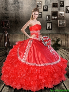 Elegant Red Strapless 2015 Quinceanera Dresses with Appliques and Ruffles