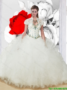 Luxurious Quinceanera Dresses with Beading and Ruffles in White for 2015 Summer