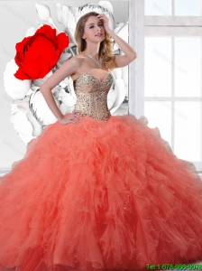 New Ball Gown Beaded and Orange Red Quinceanera Dresses with Ruffles
