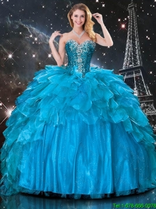 New Style Detachable Ball Gown Beaded Quinceanera Dresses in Blue