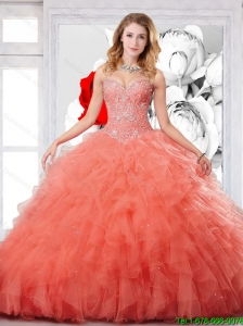 New Style Orange Red Straps Sweet 15 Dress with Beading and Ruffles