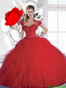 New Style Sweetheart Red Sweet 16 Dresses with Beading and Ruffles for 2015