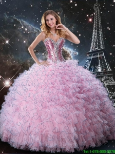 Simple Sweetheart Pink Sweet 15 Dresses with Beading and Ruffles