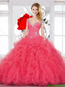 Top Seller Ball Gown Coral Red 2015 Sweet 16 Dresses with Beading and Ruffles