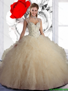 1724bf6a715 Wonderful Champange Sweet 16 Dresses with Beading and Ruffles  US  167.9920