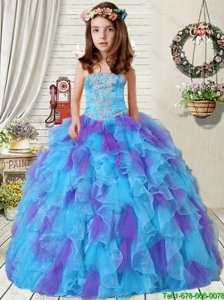 2016 Fall New Style Appliques Little Girl Pageant Dress with Ruffles in Purple and Blue