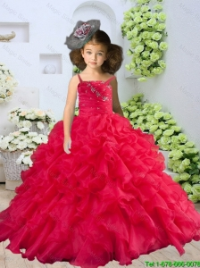 2016 Summer Discount Straps Beading and Ruching Little Girl Pageant Dress in Coral Red